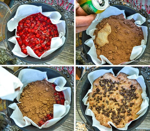 photo collage of how to make a Dutch oven chocolate cherry lava cake