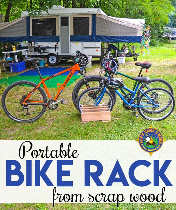 DIY Portable Bike Rack - Need a bike rack for your garage, campsite, or yard? Create this portable Bike Rack out of scrap wood. This frugal project is goes together in under an hour.