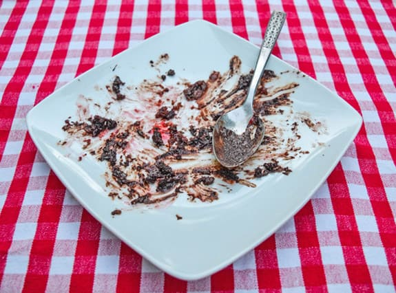 white plate smeared with the remains of a chocolate camping cake