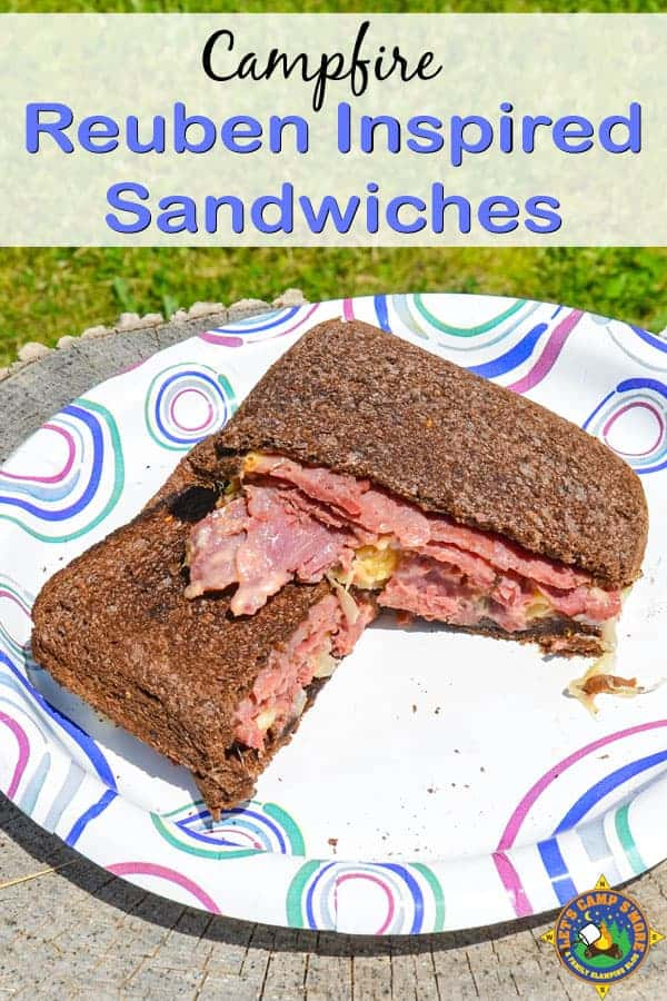 Reuben Inspired Campfire Sandwiches in Camping Pie Iron Here's a camping recipe inspired by the classic Reuben sandwich that is made in a pie iron. These individual sandwiches can be customized for each person. #camping #lunch #sandwich