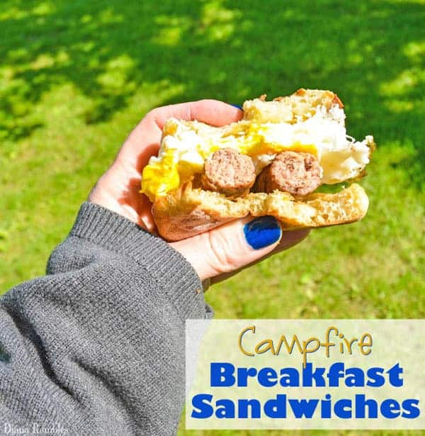 Campfire Egg Sausage Breakfast Sandwiches - Need an easy camping recipe to start your day off right? Try these egg and sausage campfire breakfast sandwiches that are made over the campfire.