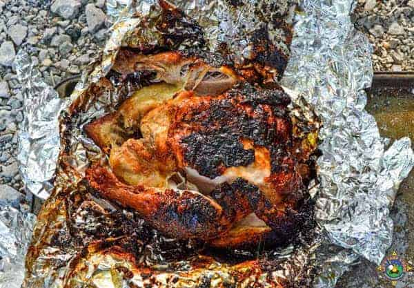 Roasted Chicken in a Campfire
