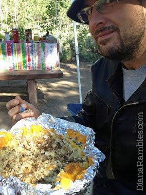Eric enjoying his mountain man breakfast