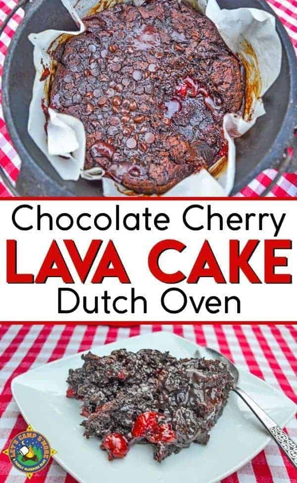 Cherry Chocolate Lava Cake Recipe in the Dutch Oven - Camping soon or use the dutch oven at home? Check out this easy Cherry Chocolate Lava Cake recipe. This camping dessert will make everyone a happy camper! Make it on your next camping trip. #dessert #camping #DutchOven
