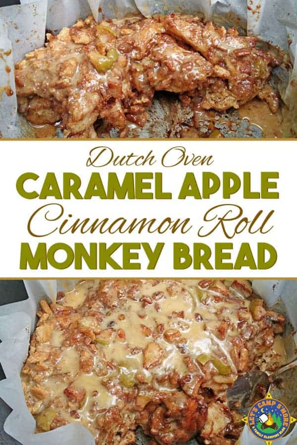 close up collage of Dutch Oven Caramel Apple Cinnamon Roll Monkey