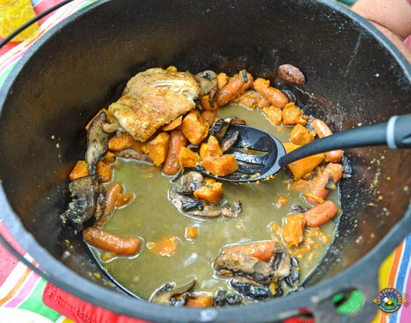 Dutch oven with food in it