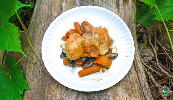 white paper plate with roasted vegetables and chicken on it