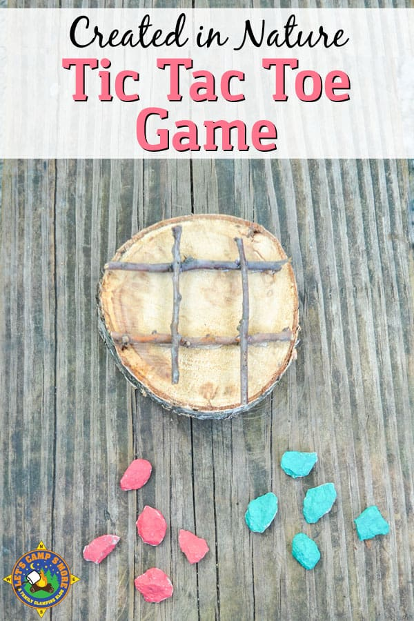 DIY Tic Tac Toe Game - Looking for a simple kids' craft that will provide lasting entertainment? Create a tic tac toe game out of items found out at the campground. #game #camping #craft #outdoor