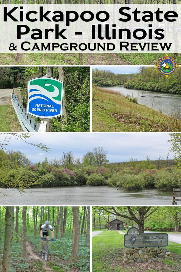 Kickapoo State Park and Campground Review - Looking for a state park in Illinois to fish or camp? Check out Kickapoo State Park near Oakwood. The recreation area has trails, biking, a great campground, and a National Scenic River. #camping #Illinois