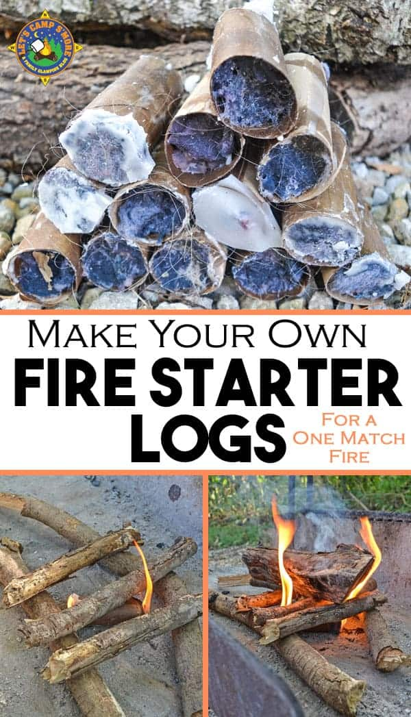 Make Your Own Fire Starter Logs - Have trouble getting a campfire to stay lit? Make your own fire starter logs for a one match fire each time. These are cheap and easy to make with supplies you probably already have on hand.