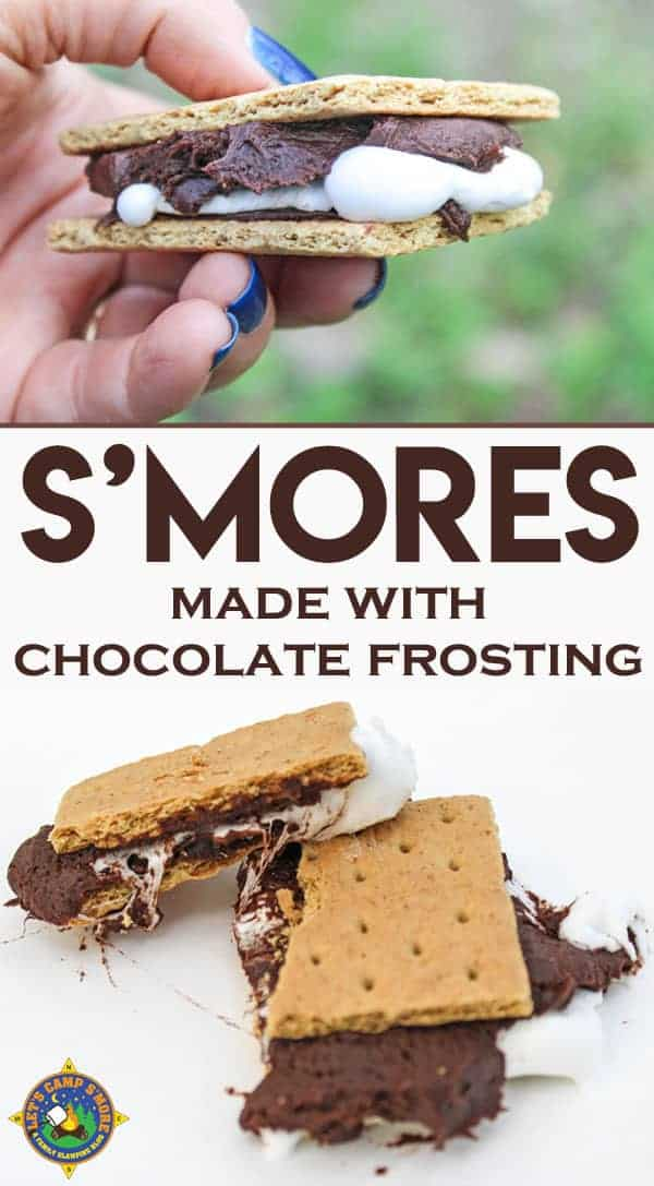 Frosting S'mores made with a Can of Chocolate Frosting Recipe - Don't like it when your chocolate bar doesn't melt? Create frosting s'mores with a can of chocolate frosting that makes a perfect s'more every time! Enjoy! #smores #camping