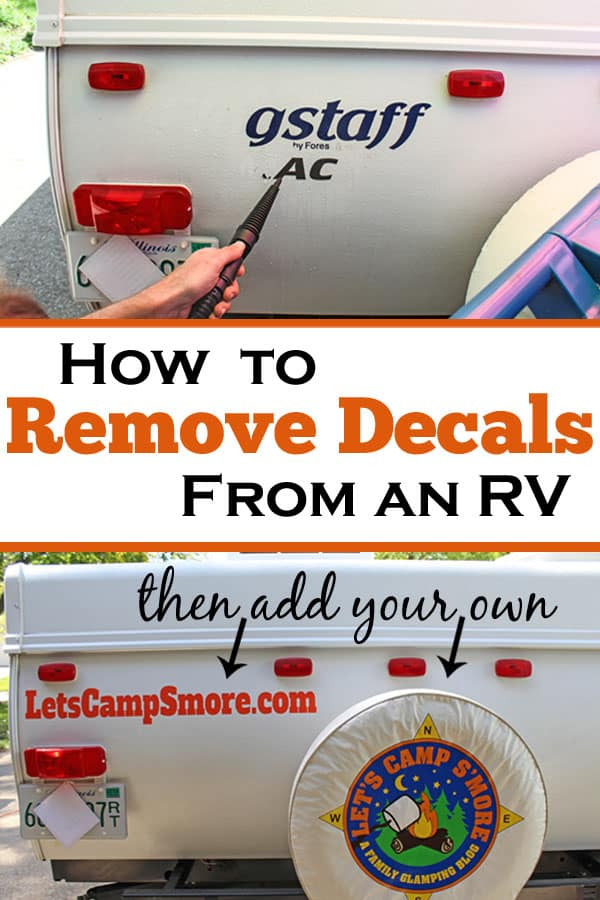 How to Remove Sticker Decals from an RV or Trailer - Don't like the factory stickers on your RV? Remove decals with this easy method that won't damage the paint or surface. Then you can apply your own decals. #RV #trailer #mod
