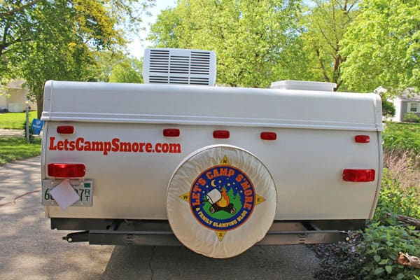 back of a camper from Let's Camp S'more