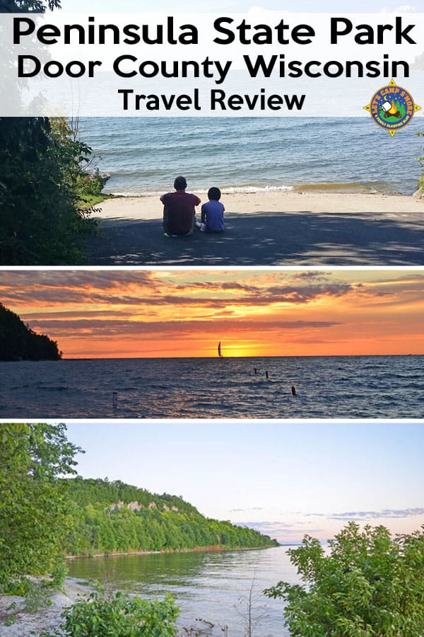 Peninsula State Park Door County Wisconsin Travel Review - Want to camp in Door County? Then Peninsula State Park is the perfect destination. Enjoy biking trails, beaches, views, and amazing sunsets. #camping #TravelWI #DoorCounty