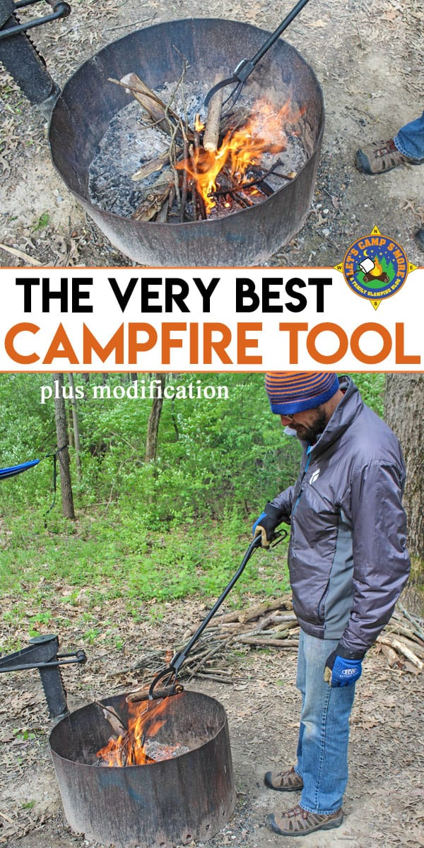The Best Campfire Tool is The Log Grabber - Need to safely move logs in your campfire? The Log Grabber is the right tool for the job. Modify your Log Grabber by adding a spring for easier use. #campfire #fire #tool