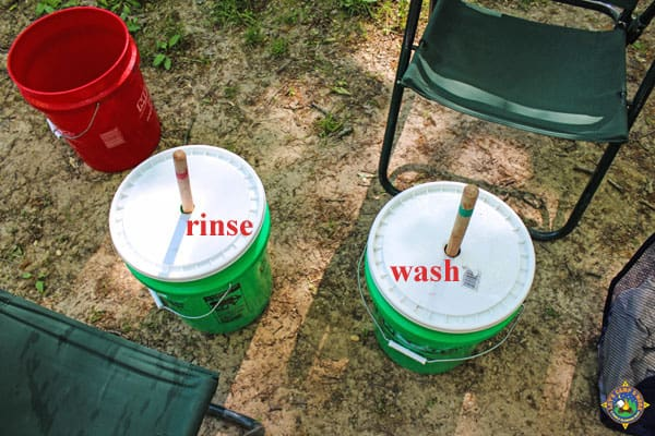 washing system set up outside