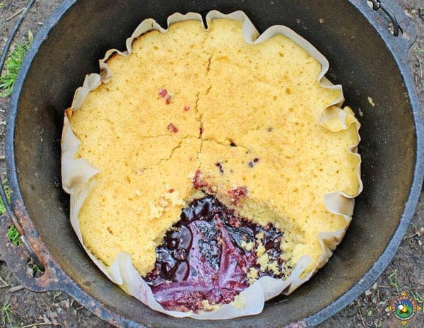 Lemon Blueberry Dump Cake in the Dutch Oven