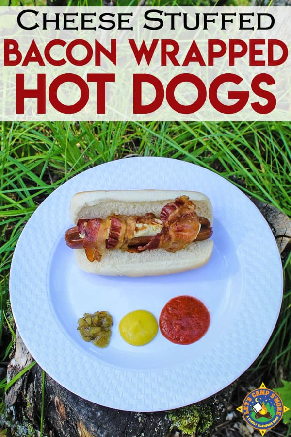 Cheese Stuffed Bacon Wrapped Hot Dogs Recipe - Grill hot dogs stuffed with string cheese and wrapped with bacon over a campfire or on the grill. This is the easy camping recipe that you've been looking for and that the whole family will love!