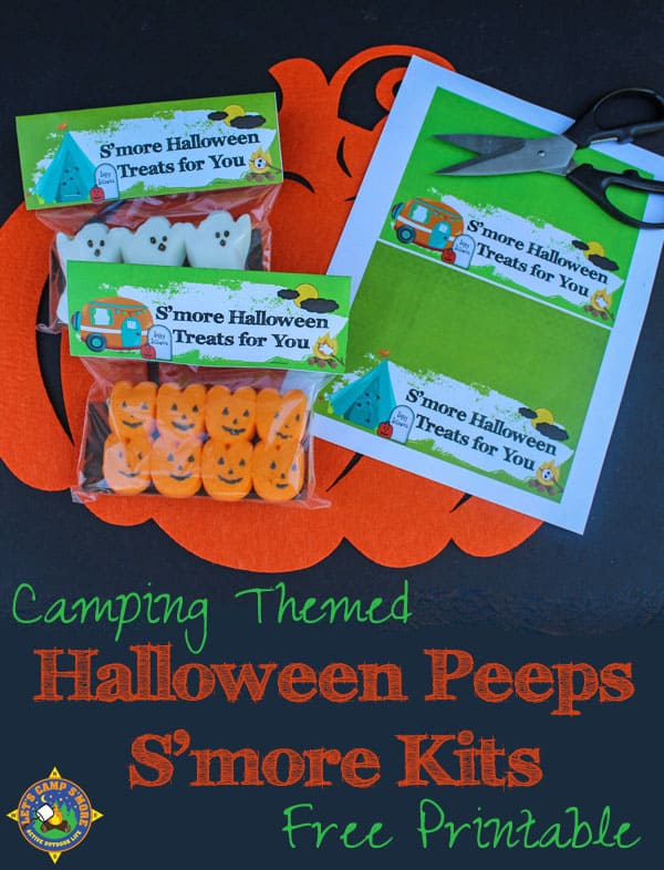 Camping Themed Halloween Peeps S'mores Kits Toppers Free Printables - Hand out handmade Halloween Peeps S'more Kits this year. Put the smores ingredients in a bag and top it with these fun Halloween free printables. There are camping and non-camping designs. #Halloween #Peeps
