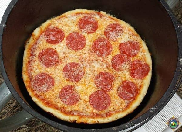 close up of a pizza in a dutch oven