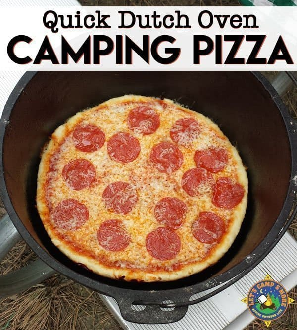 Simple Dutch Oven Pizza Recipe for Camping - Looking for a simple camping recipe for your next trip? Make this Dutch Oven Pizza Recipe using cheap ingredients, which are elevated in cast iron dutch oven.