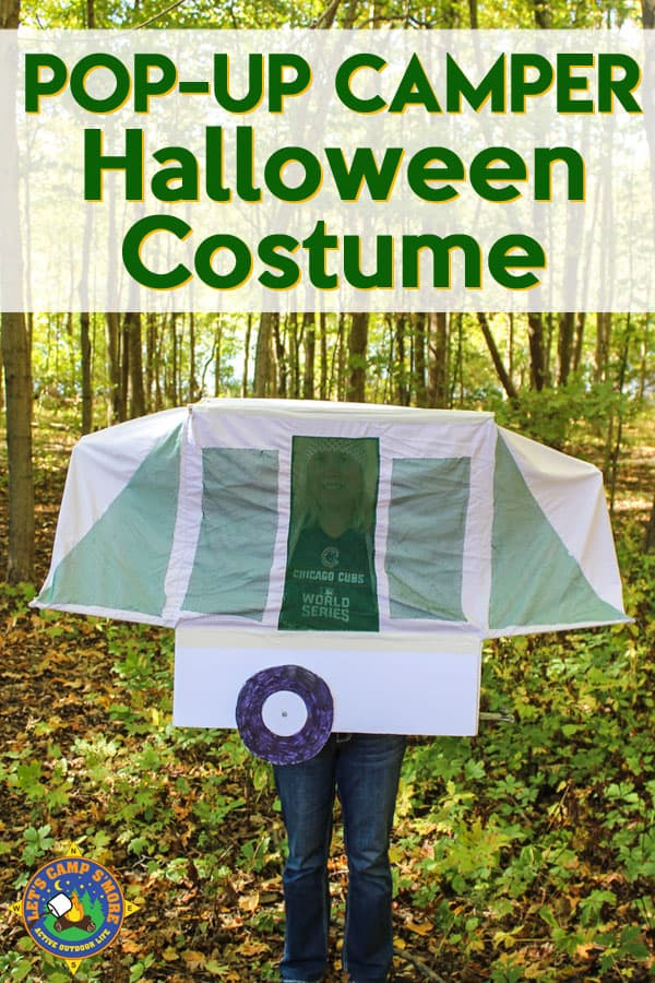Pop-Up Trailer Camper Halloween Costume Tutorial - Want to make a camping themed costume? Follow this tutorial for a Pop Up Camper Halloween Costume and WOW your family and friends. This camping costume has movable parts with the bunk ends going up and down. #Halloween #costume #camping