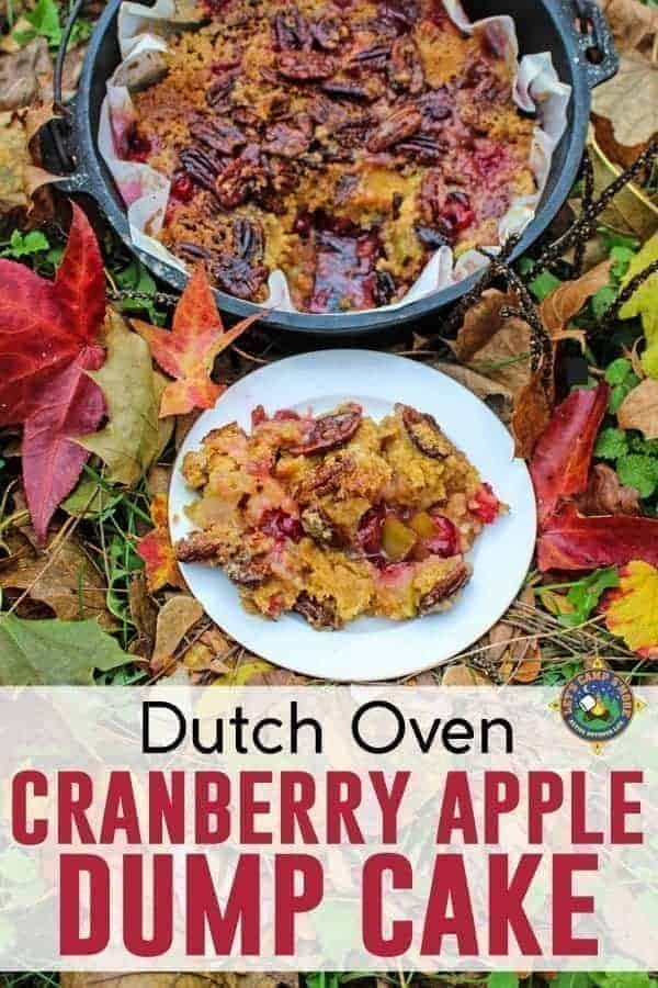 Cranberry Apple Dump Cake Recipe - Looking for a tasty fall camping dessert recipe? Try this Cranberry Apple Dump Cake Recipe that is made in the Dutch Oven. This Camping Recipe is perfect for Thanksgiving.