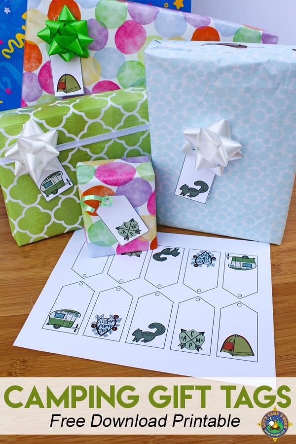 Camping Gift Tags Free Printable - Do you love camping or know someone who does? Downloand and print these free Camping Gift Tags Printables to put on their present. They are great for Birthdays. Holiday tags for Christmas are also included in this post. #gifttags #freeprintable #camping #presents #birthday