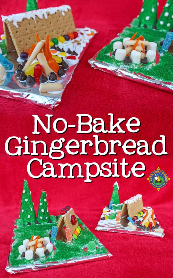 No Bake Gingerbread Campsite Tutorial - Love to go camping? Then you will enjoy creating this No Bake Gingerbread Campsite. This fun and easy activity uses graham crackers and candy. It's fun for the whole family! #camping #gingerbread #Christmas #familyactivity