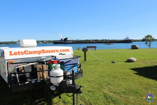 A view of a ship on the St. Mary's River from our campsite at Aune-Osborne Campground