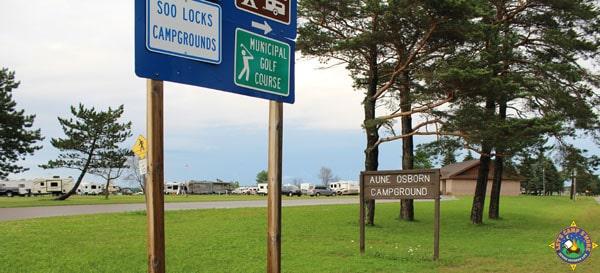 Entrance to Aune-Osborn Camgpround