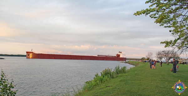 Great Lakes freighter on the St. Mary's River in Michigan