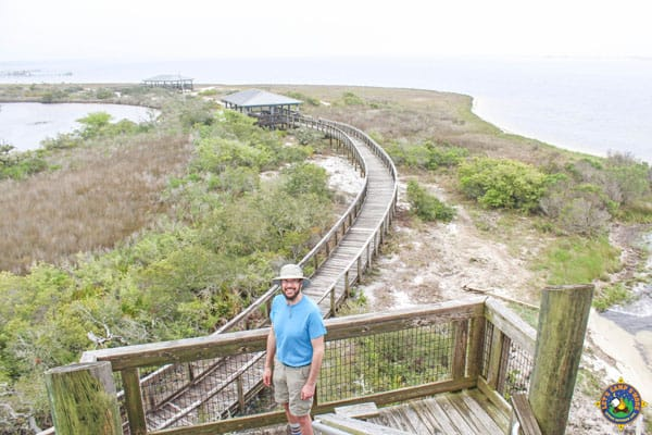 man on boardwalk at Big Lagoon State Park