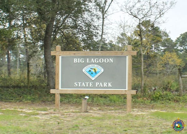 Big Lagoon State Park in Florida sign