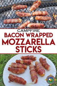 Bacon-Wrapped Mozzarella Sticks Grilled over a Campfire - Looking for a unique camping recipe with bacon? Try these Bacon Wrapped Mozzarella Sticks. They so tasty and are so super easy to grill over a campfire.