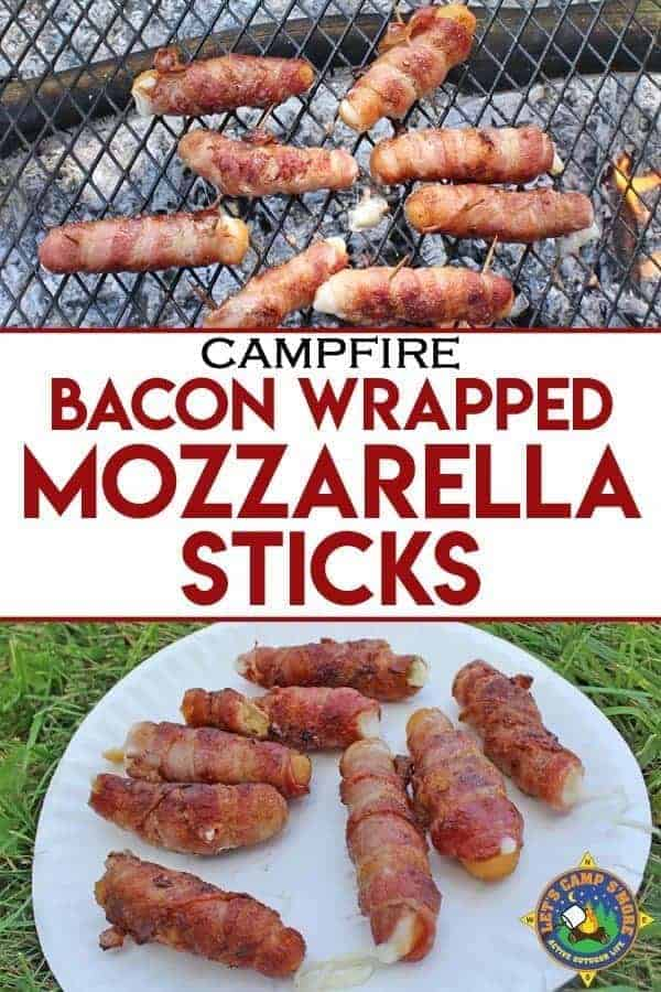 Bacon Wrapped Mozzarella Sticks Grilled over a Campfire