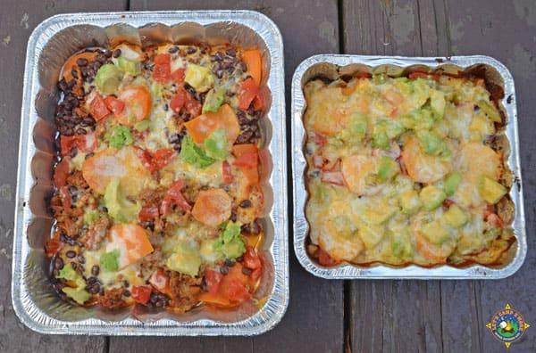 2 pans of campfire nachos