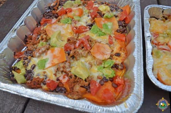 a close up of sweet potato nachos