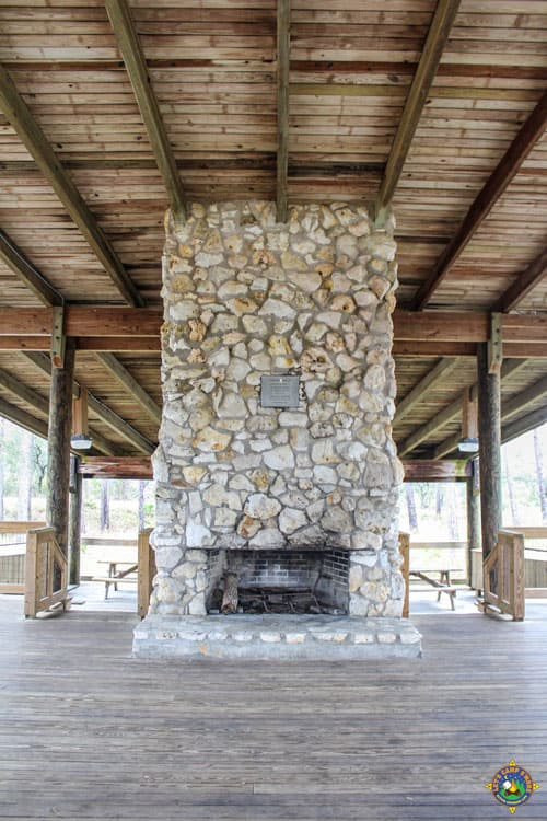 stone fireplace in the Governor's Pavilion at Big Lagoon State Park