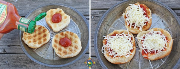 add sauce and cheese to your mini pizzas