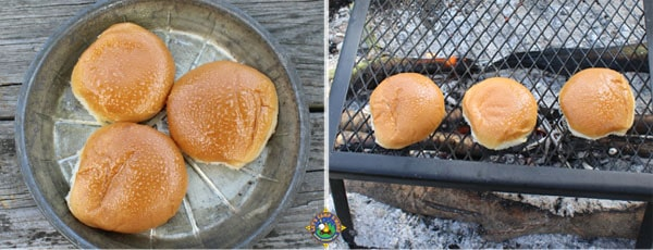 spray and grill buns over the campfire