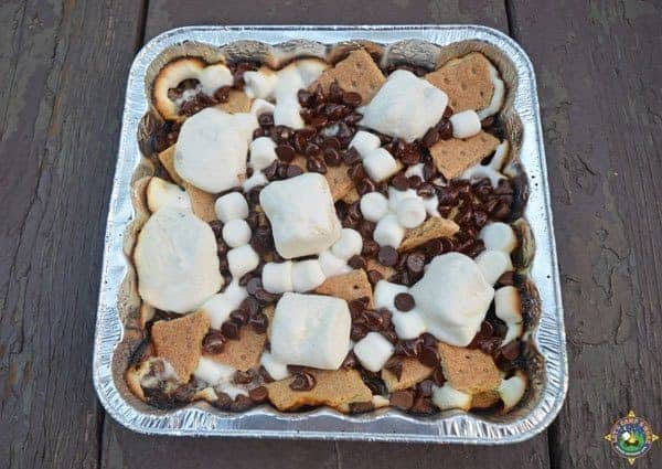 foil pan filled with nacho s'mores