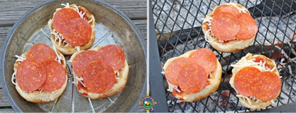 pepperoni mini pizza buns grilling over the campfire
