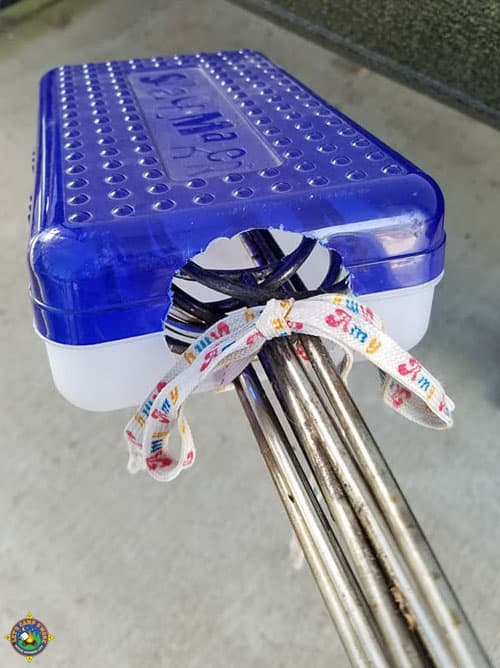 close-up of a pencil box turned roasting fork holder