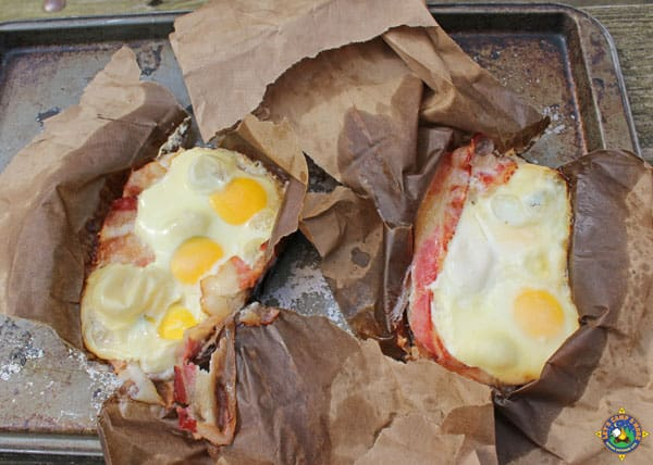 eggs and bacon cooked in a bag