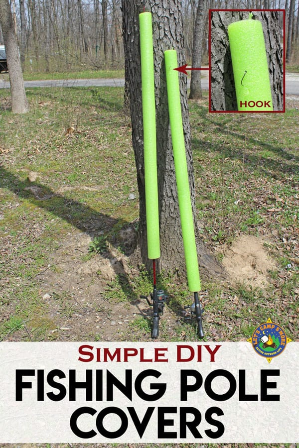 homemade fishing poles with covers leaned up against a tree in a campground