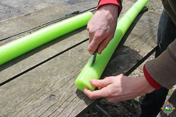 cut a slit in the pool noodle