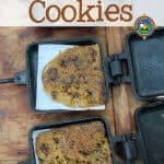 Campfire Cookies - Do you want home-baked cookies while camping? Make these Campfire Cookies using a pie iron over the fire. Get the kids to help with this fun and easy camping dessert. Just make sure you prep enough cookie dough because they will disappear quickly!