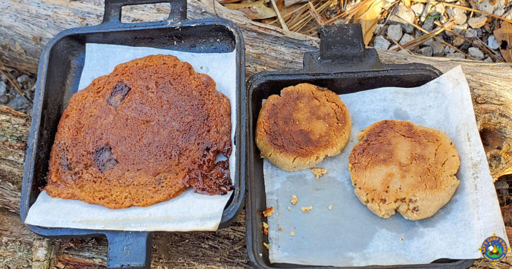 3 cookies that were baked over a campfire