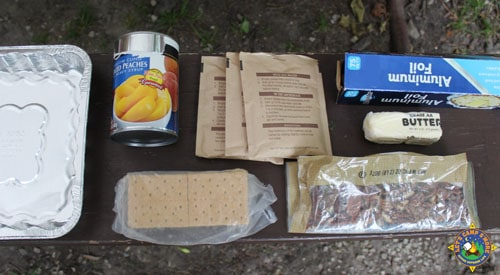 ingredients for camping peach crisp